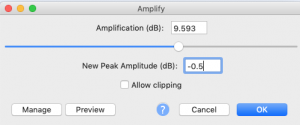 amplify function in audacity