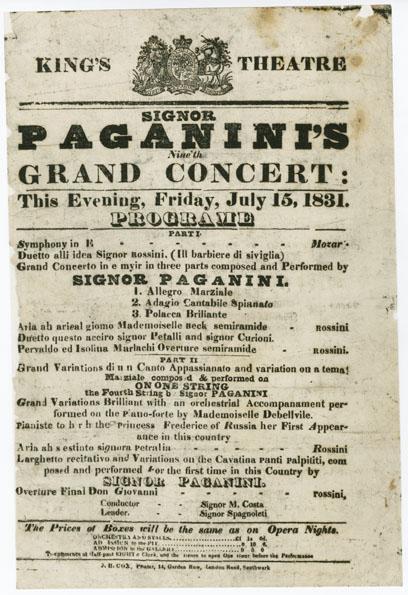 Paganini concert program July 15, 1831